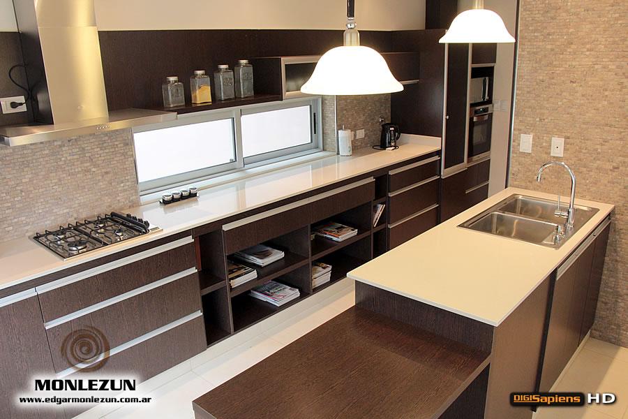 Amoblamiento cocina melamina wengue m rmol silestone blanco norte - Muebles de cocina color wengue ...