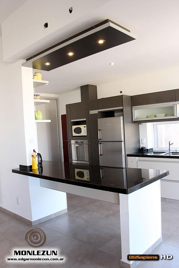 Amoblamiento cocina melamina color litio combinado con titanio - Modelos de cocinas pequenas y sencillas ...
