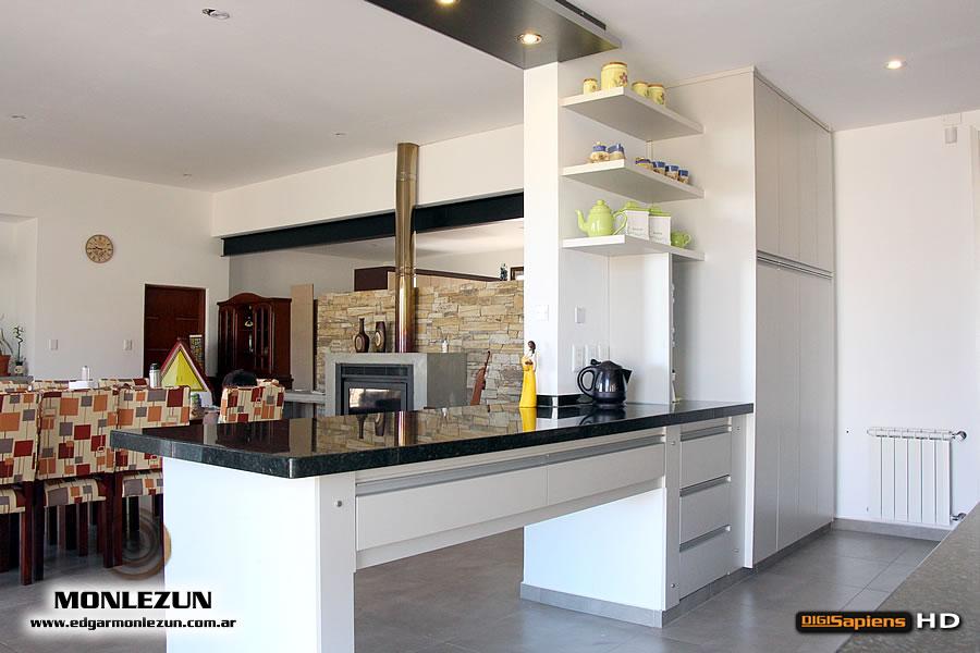 Amoblamiento cocina melamina color litio combinado con titanio for Cielos de cocinas